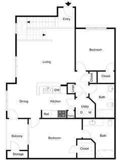 2 Bedroom 2 Bath Loft 2D Drawing