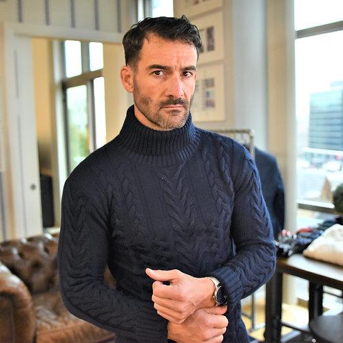 Turtleneck Heavy Cable Sweater: Superfine Merino Wool: Navy