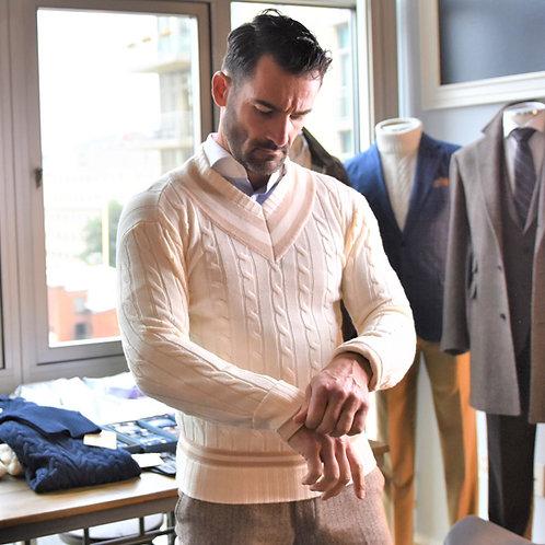 Varsity Chunky Cable Sweater: Heavy Guage Fine Merino
