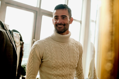 Turtleneck Heavy Cable Sweater: Superfine Merino Wool: Ivory