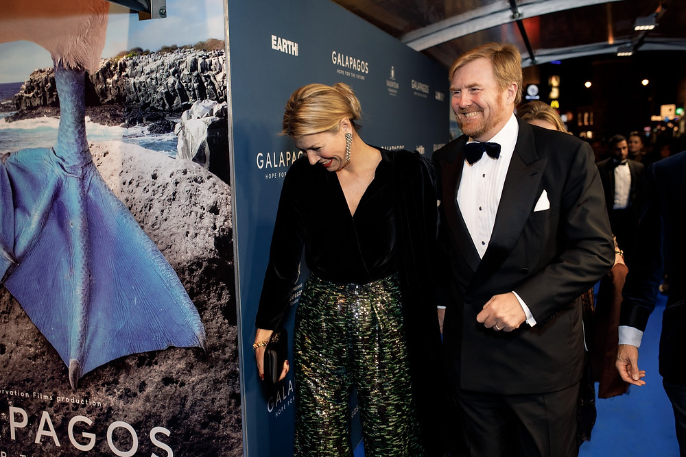 King Willem-Alexander and Queen Maxima of the Netherlands at the Galapagos première in Tuschinski theater, Amsterdam.