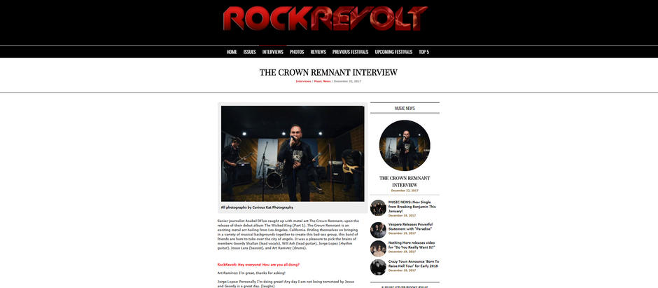 We're on the Front Page of RockRevolt Magazine!