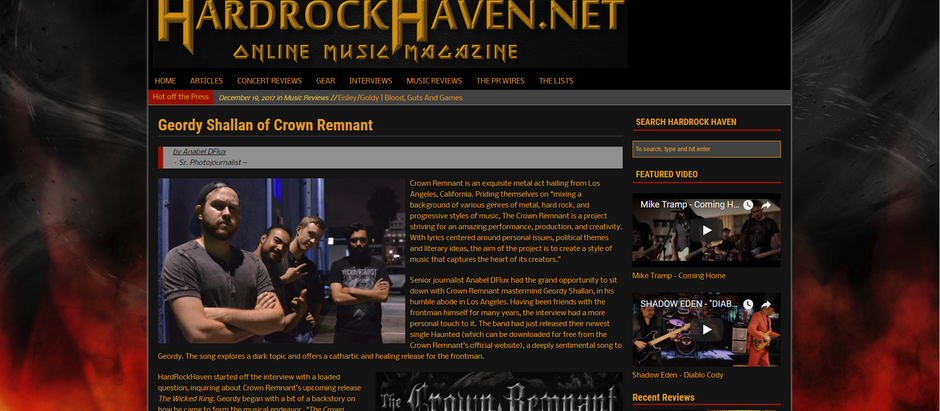 The Crown Remnant Interview with Hardrock Haven!