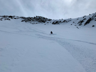 Chasing powder on bi-canyon tour of high northern aspects