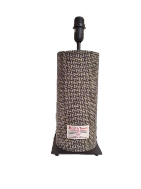 Harris Tweed Tube Lamp - Cream/Black Zigzag