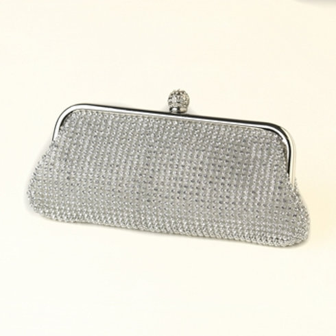 Silver Clear Crystal Evening Bag with Silver Frame & Shoulder Strap