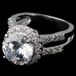 Rhodium Clear Round CZ Halo Ring