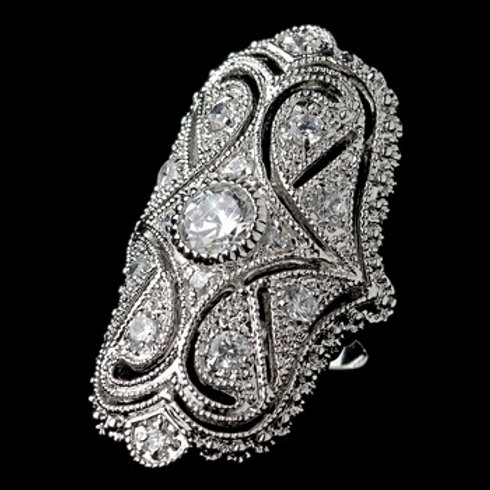 Rhodium Clear CZ Art Deco Ring
