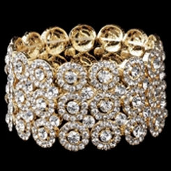 Clear Circle Gold 3 Row Stretch Bracelet