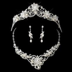 Silver Freshwater Pearl, Swarovski Crystal Band & Rhinestone Tiara Headpiece