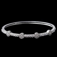 Rhodium Clear Round CZ Bangle Bracelet