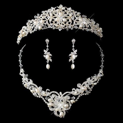 Silver FreshwaterPearl, Swarovski Crystal Bead and Rhinestone Tiara Headpiece