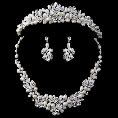 Silver Freshwater Pearl & Rhinestone Leaf Tiara & Jewelry