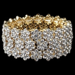 Clear Gold Flower Rhinestone Stretch Bracelet