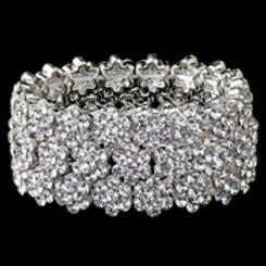Clear Rhodium Flower Rhinestone Stretch Bracelet