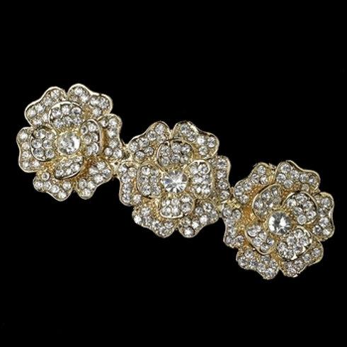 Light Gold Clear Rhinestone Flower Barrette