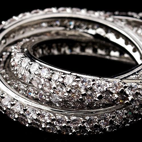Silver Clear Rhinestone 3 Band Ring