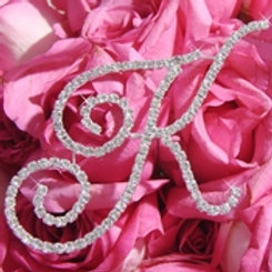 Rhinestone Crystal Initial Monogram Jewelry for Bouquet Stem