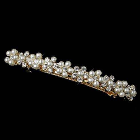 Light Gold Ivory Pearl & Rhinestone Flower Barrette