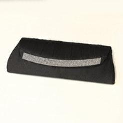 Black Satin Evening Bag 323with Crystal Trim Accent & Closure, Silver Shoulder S
