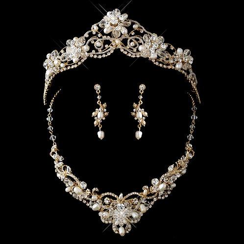 Gold Freshwater Pearl, Swarovski Crystal Beads & Rhinestone Tiara Headpiece