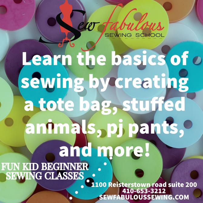 Kids Beginner Sewing class ages 7-12