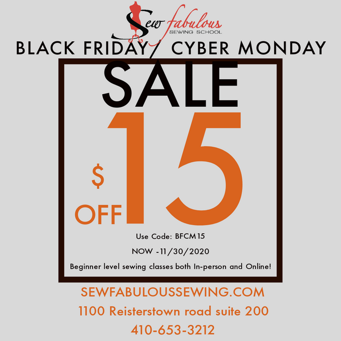Black Friday / Cyber Monday $15 Off New Students!
