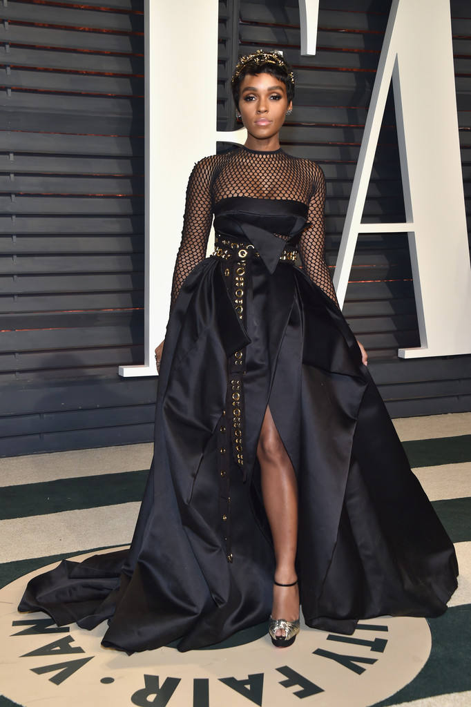 Singer Janelle Monae wears Alexandre Vauthier Fall 16/17 Couture dress at the Oscars 2017 After Party