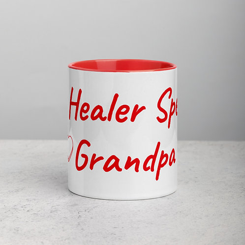 Personalized for Grandpa with Heart - Ceramic Mug with Red Handle/Inside