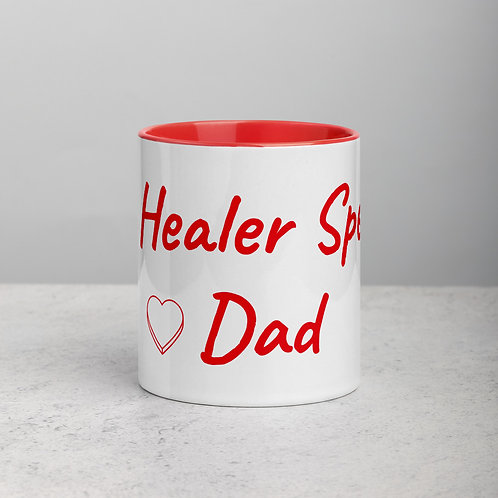 Personalized for Dad with Heart - Ceramic Mug with Red Handle/Inside