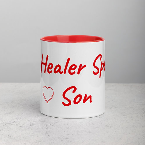 Personalized for Son with Heart - Ceramic Mug with Red Handle/Inside