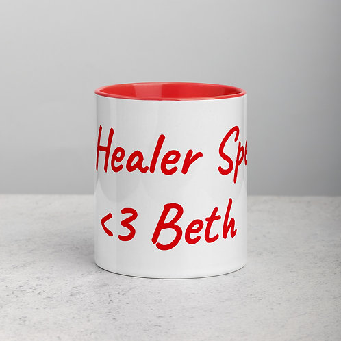 Personalized for Beth - Ceramic Mug with Red Handle/Inside
