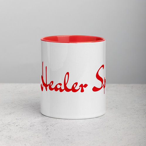 Ceramic Mug with RED Handle and RED Inside: The Healer Speaks
