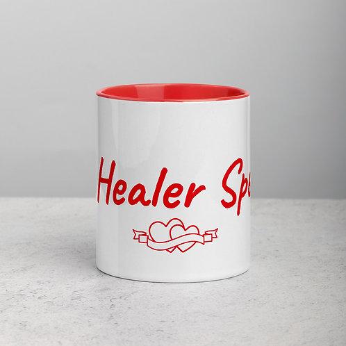 Hearts - Ceramic Mug with Red Handle/Inside