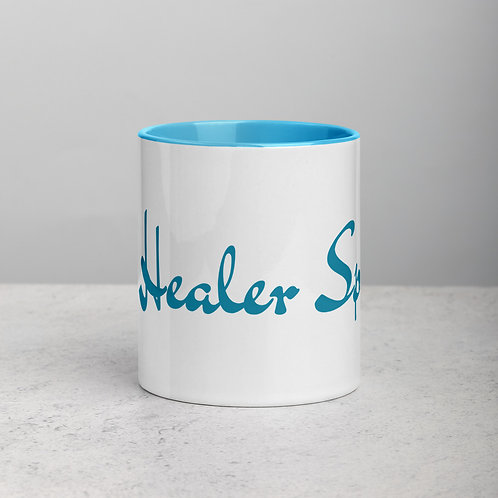 Ceramic Mug with BLUE Handle and BLUE Inside: The Healer Speaks