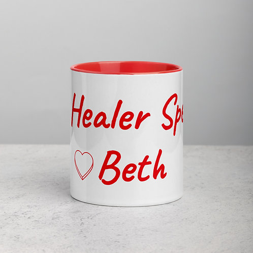 Personalized for Beth with Heart - Ceramic Mug with Red Handle/Inside