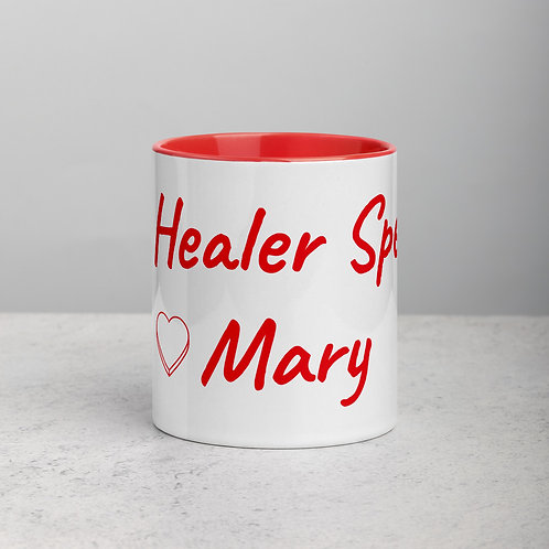 Personalized for Mary with Heart - Ceramic Mug with Red Handle/Inside