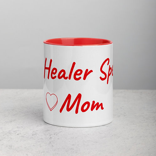 Personalized for Mom with Heart - Ceramic Mug with Red Handle/Inside