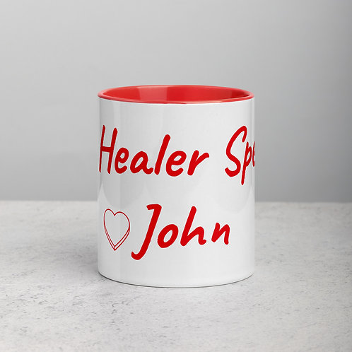 Personalized for John with Heart - Ceramic Mug with Red Handle/Inside