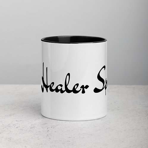 Ceramic Mug with Color Handle and Color Inside: The Healer Speaks