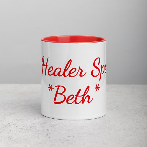 Personalized for Beth 2 - Ceramic Mug with Red Handle/Inside
