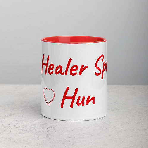 Personalized for Hun with Heart - Ceramic Mug with Red Handle/Inside