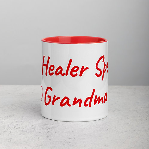 Personalized for Grandma with Heart - Ceramic Mug with Red Handle/Inside