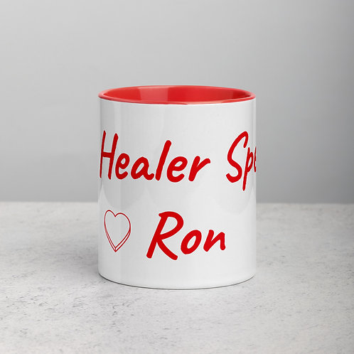 Personalized for Ron with Heart - Ceramic Mug with Red Handle/Inside