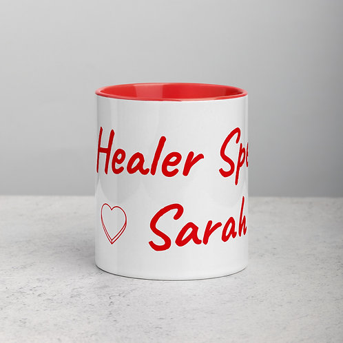 Personalized for Sarah with Heart - Ceramic Mug with Red Handle/Inside
