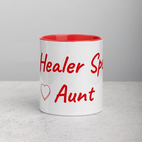 Personalized for Aunt with Heart - Ceramic Mug with Red Handle/Inside
