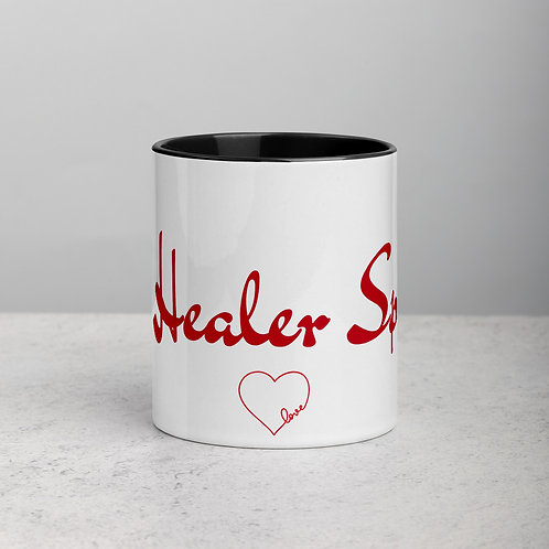 RED with Heart - Ceramic Mug with Black Handle/Inside