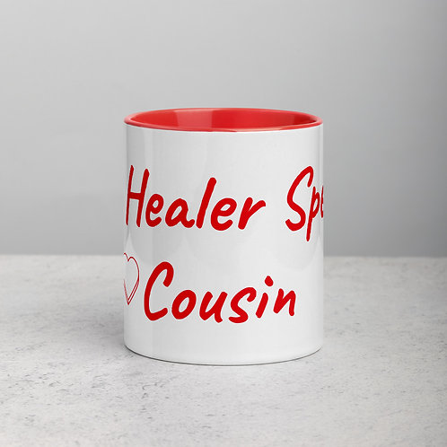 Personalized for Cousin with Heart - Ceramic Mug with Red Handle/Inside