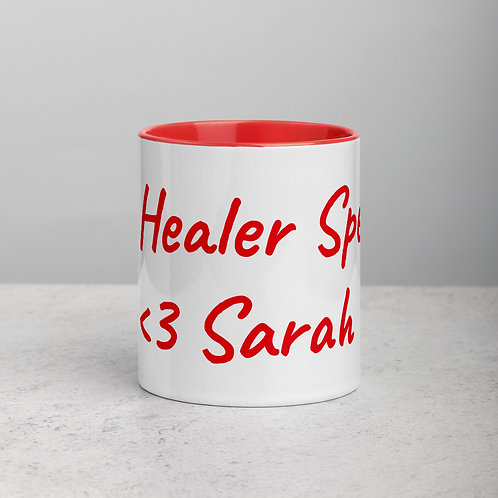 Personalized for Sarah - Ceramic Mug with Red Handle/Inside