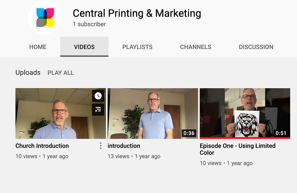 Youtube videos for Central Printing